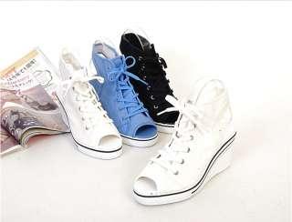 Women Open Toe Wedge High Heels Sandals Sneakers Shoes White/Black
