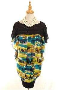 AUTH Made in Italy Roberto Cavalli Crochet Galaxy Print Silk Dress