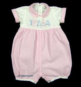 Girls Italy Modil ONE PIECE Pink White Check 12   18 M