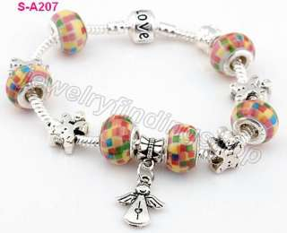 lampwork porcelain silver beaded European charms snake love bracelet