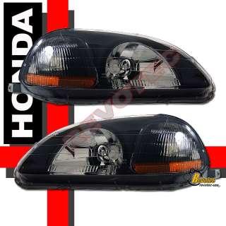 96 97 98 HONDA CIVIC EK JDM BLACK HOUSING HEADLIGHTS CX DX EX HX Si LX