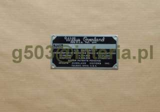 JEEP M170 MDA SERIAL NUMBER DATA PLATE WILLYS ID TAG