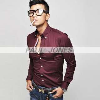 NEW Korea Mens Casual Dress Shirts 3Colors sp0