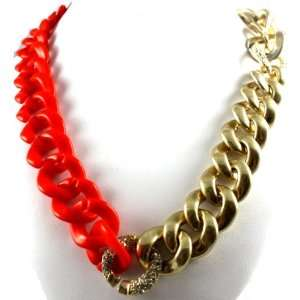 Luxe Couture Large & Long Orange & Gold Chunky Chain Linked Necklace