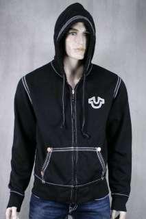 True Religion Jeans Mens QT Horseshoe Hoodie Black white stitch