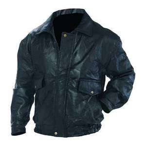 Mens Black Genuine Leather Bomber Jacket NEW