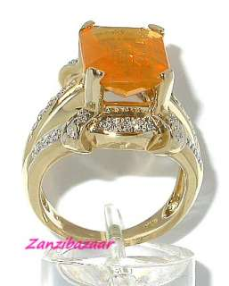 LAURA RAMSEY 14K GOLD EMERALD CUT OPAL & DIAMOND RING