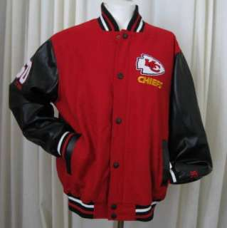 KANSAS CITY CHIEFS WOOL FAUX LEATHER VARSITY BOMBER JACKET XL