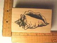 LARGE CONCH SHELL SEA SHELL wood mounted rubber stamp