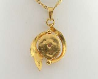Estate Natural White Opal Solid 24k Yellow Gold Pure 9999 Pendant