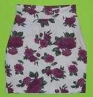 Fame sz 9 / 11 Medium Womens Juniors White Purple Flower Skirt KH20