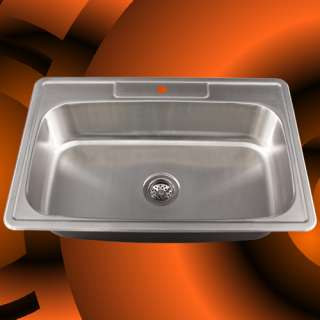 33 Stainless Steel Drop In Single Bowl Kitchen Sink