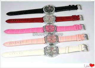 Fashion Black Crystals Stone HelloKitty Quartz Wrist Watch Woman Girls