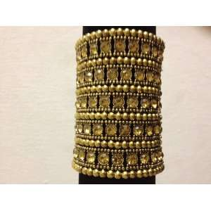 Gold Stretch Bracelet With Clear Rhinestone Crystal 5Row