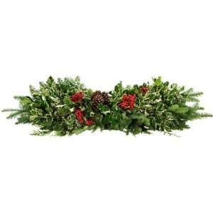 Fresh Holly Deluxe Holly And Greens Table Runner