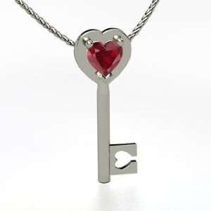 Key to My Heart, Heart Ruby 14K White Gold Necklace Jewelry