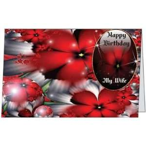 Birthday Wife Spouse Flowers Romantic Love Happy Greeting Card (5x7