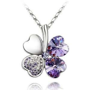 Fancy 18k White Gold Plated Amethyst Purple Swarovski Austrian Crystal