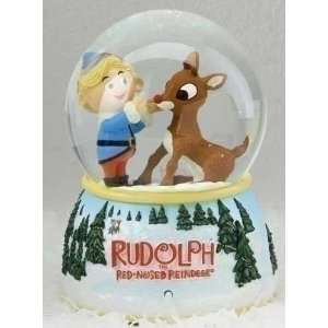 of 2 LED Lighted Rudolph & Hermey Christmas Glitterdomes Snow Globes