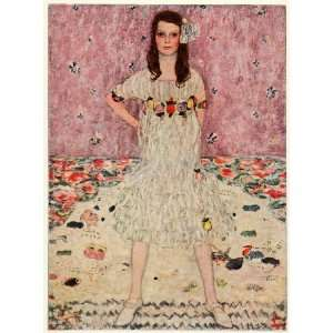 Print Mada Fashion Girl Portrait Floral Dress 1913 Gustav Klimt German