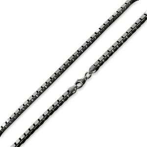 Black Rhodium Plated Sterling Silver Italian 30 Box Chain