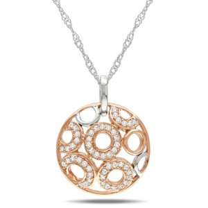 14k Rose Gold Diamond Pendant with Chain, (.16 cttw, G H