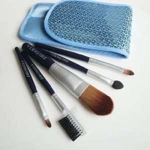 quality nylon hair Mini Cosmetic Brush Set With Free Shiny Blue Case