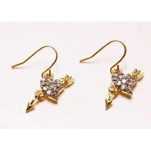 Cupid Arrow Through Heart Gold Tone Real Clear Crystal Rhinestone Drop
