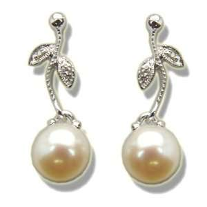 .02 ct 7mm Pearls White Gold Leaf Style Dangle Earring Jewelry
