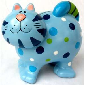 Ceramic Polka Dots & Stripes Kitty Cat Themed Colorful