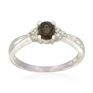 Sterling Silver Oval Shaped Smoky Quartz Ring, Size 8