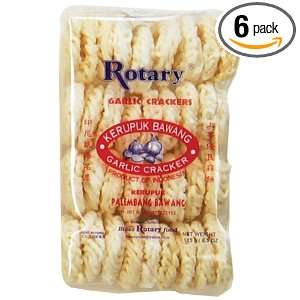 Rotary Garlic Tapioca Crackers, 6.5000 Ounce (Pack of 6):