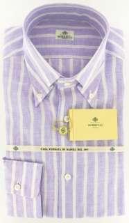New $425 Borrelli Lavender Purple Shirt 17/43