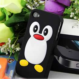 Hot Pink Cute Penguin Silicone Soft Case Cover Skin For Apple iPhone 4