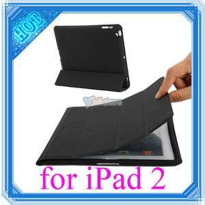 Magnetic Smart PU Leather Cover With Back Case for Apple iPad 2 Black