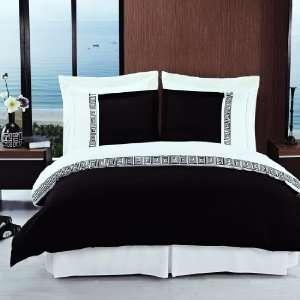 Hotel Style Greek Key Black and White Microfiber Duvet