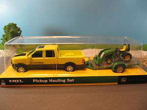 Ertl Diecast John Deere Yellow Pickup Truck Trailer Utility Tractor