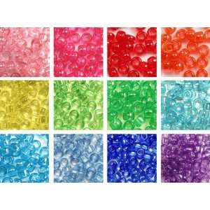 Transparent Rainbow Pony Beads Variety Pack   12 Color Set   300 grams