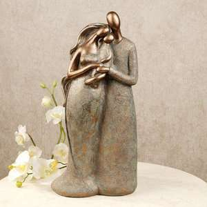 Abstract Family 3 Statue Mom Dad Baby Table Sculpture