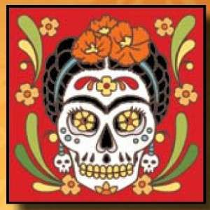 FOUR Day Dead MAGNETS Dias Muertos Tile 2x2 Skulls