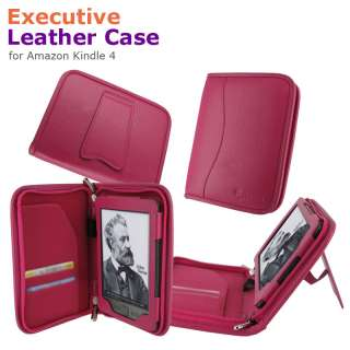 Executive Leather Case Cover for  Kindle 4 Latest Model Magenta