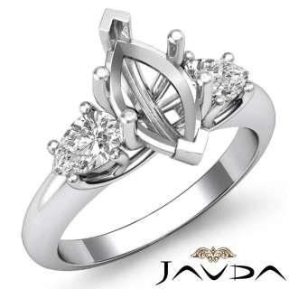 2Ct Pear Cut Diamond 3 Stone Ring Marquise Setting WG