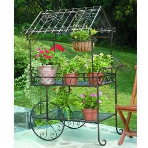 Wrought Iron Flower Cart Plant Stand Patio, Lawn & Garden