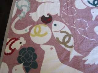Auth CHANEL Baby Animal Huge Beach Towel Blanket Rare