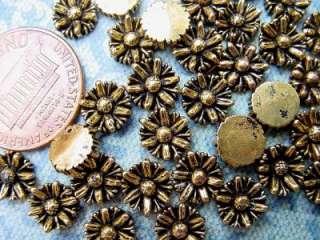 Vintage 7mm Gold Tone Metalized Plastic Flower Cabs