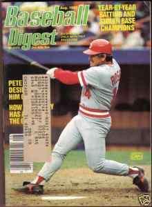 1985 Baseball Digest Pete Rose Cincinnati Reds Aug.