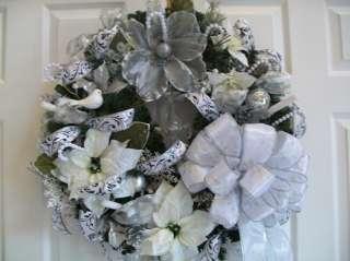 Gorgeous Silver and White Christmas Wreath