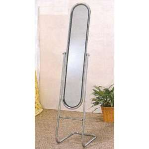 Modern Style Chrome Plated Metal Floor Cheval Mirror