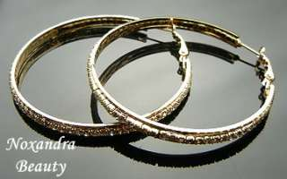TR2011   55mm Dia. Swarovski clear crystal Gold Plated Hoop Huggie