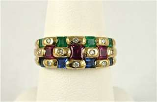LeVian 1.25ct Multi Gem Diamond Emerald Ruby Sapphire Band Ring 18k